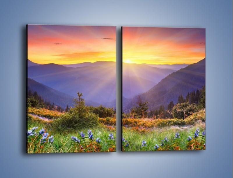 Obraz na płótnie – Góry o zachodzie słońca – dwuczęściowy prostokątny pionowy KN014