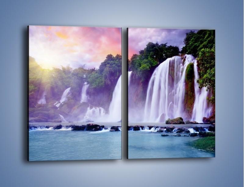 Obraz na płótnie – Wodospady jak z bajki – dwuczęściowy prostokątny pionowy KN026