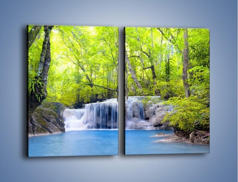 Obraz na płótnie – Mały leśny wodospad – dwuczęściowy prostokątny pionowy KN057