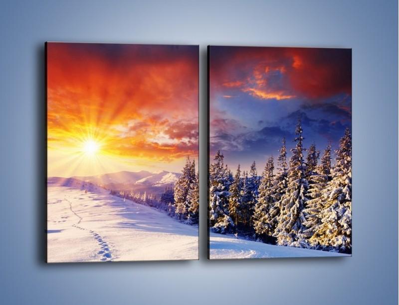 Obraz na płótnie – Urok zimowej pary – dwuczęściowy prostokątny pionowy KN098