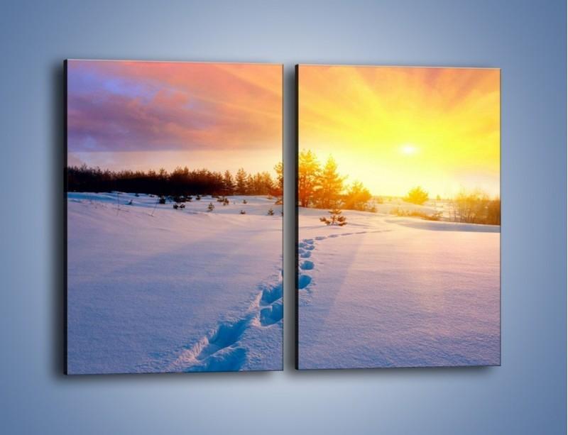 Obraz na płótnie – Ślady na śnieżnym puchu – dwuczęściowy prostokątny pionowy KN1015