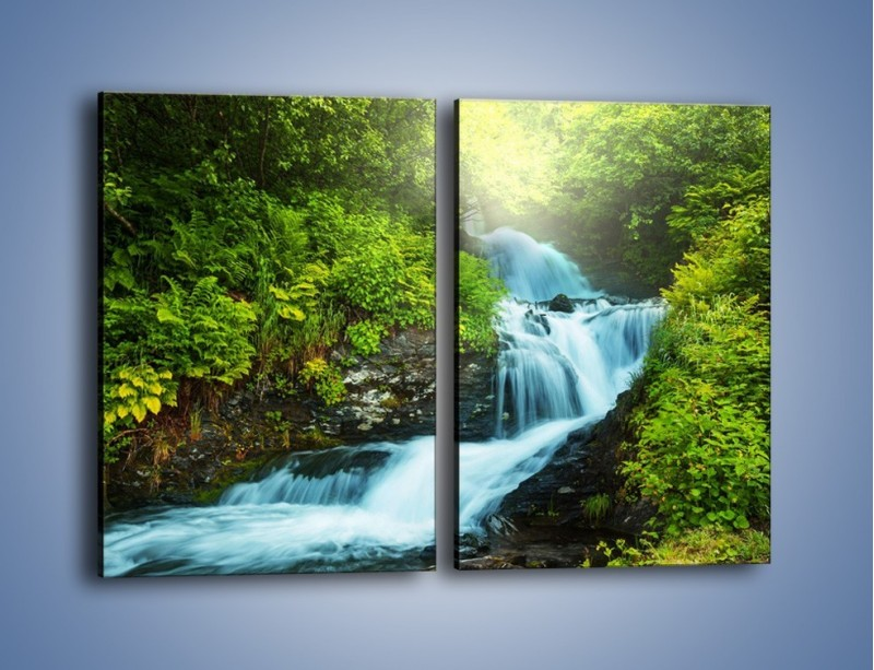 Obraz na płótnie – Spływ wodny i zieleń – dwuczęściowy prostokątny pionowy KN1069
