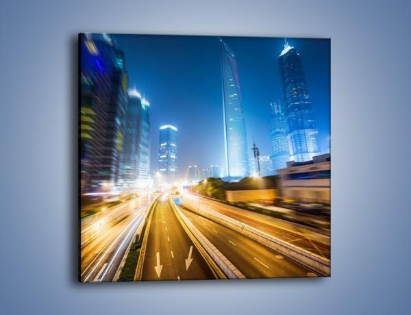 Obraz na płótnie – Rozmyte miasto nocą – jednoczęściowy kwadratowy AM805