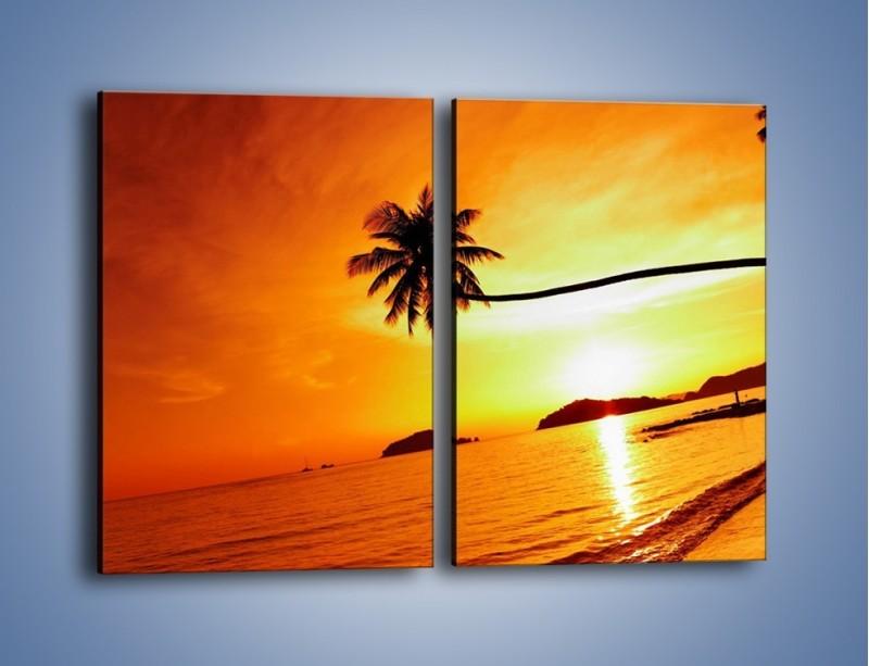 Obraz na płótnie – Palma o zachodzie słońca – dwuczęściowy prostokątny pionowy KN1077
