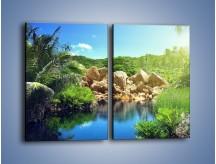 Obraz na płótnie – Bogata roślinność nad wodą – dwuczęściowy prostokątny pionowy KN1082A