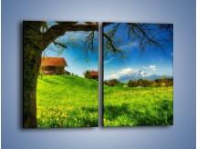 Obraz na płótnie – Chatki na polanie – dwuczęściowy prostokątny pionowy KN1085A