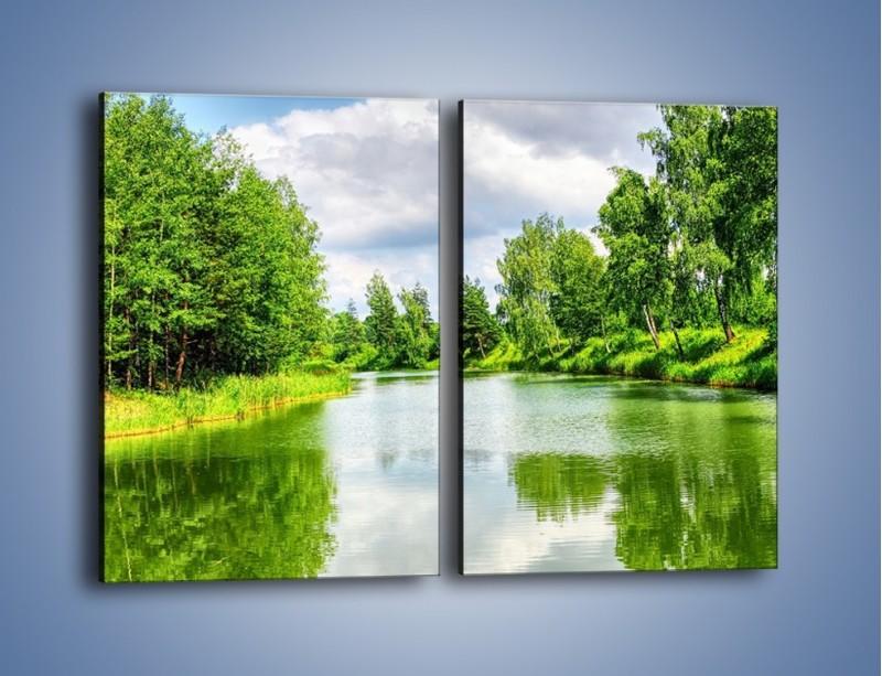 Obraz na płótnie – Spokojna woda i las – dwuczęściowy prostokątny pionowy KN1086