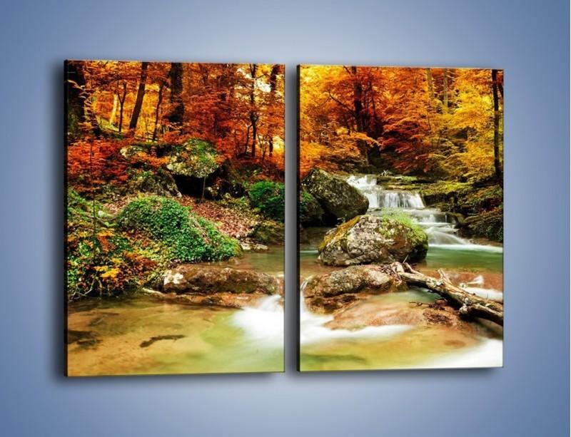 Obraz na płótnie – Jesienne kolory w lesie – dwuczęściowy prostokątny pionowy KN1094A