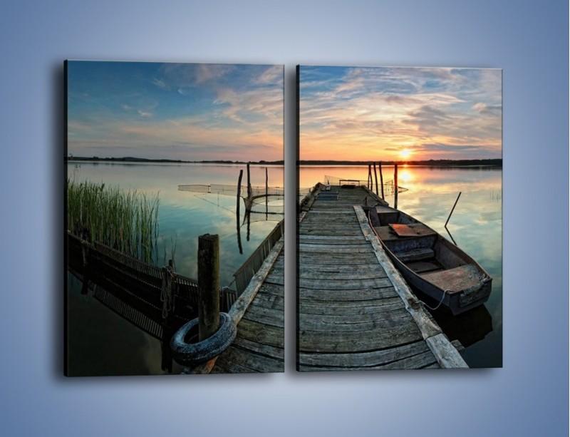 Obraz na płótnie – Stary most i łódź – dwuczęściowy prostokątny pionowy KN1096A