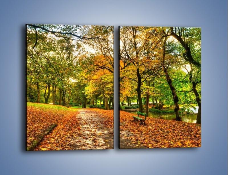 Obraz na płótnie – Piękna jesień w parku – dwuczęściowy prostokątny pionowy KN1098A