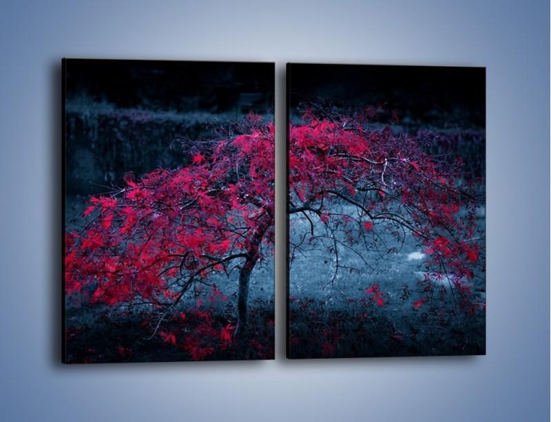 Obraz na płótnie – Czerwone płaczące drzewo – dwuczęściowy prostokątny pionowy KN1101A