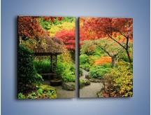 Obraz na płótnie – Alejka między kolorowymi drzewami – dwuczęściowy prostokątny pionowy KN1113