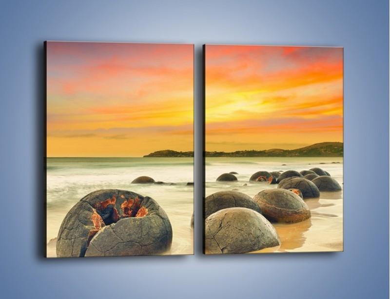 Obraz na płótnie – Popękane kamienne arbuzy – dwuczęściowy prostokątny pionowy KN1125A