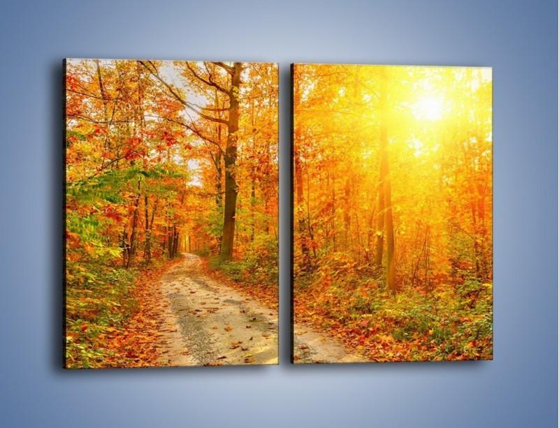 Obraz na płótnie – Leśną drużką jesienią – dwuczęściowy prostokątny pionowy KN1163A