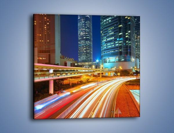 Obraz na płótnie – Nocne kolory miasta – jednoczęściowy kwadratowy AM808