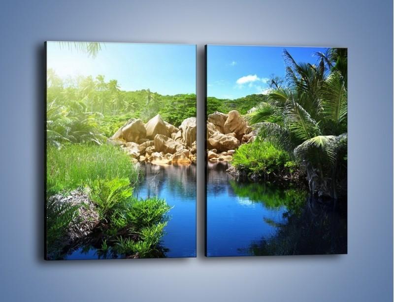 Obraz na płótnie – Wapienne skałki na wodzie – dwuczęściowy prostokątny pionowy KN1188A