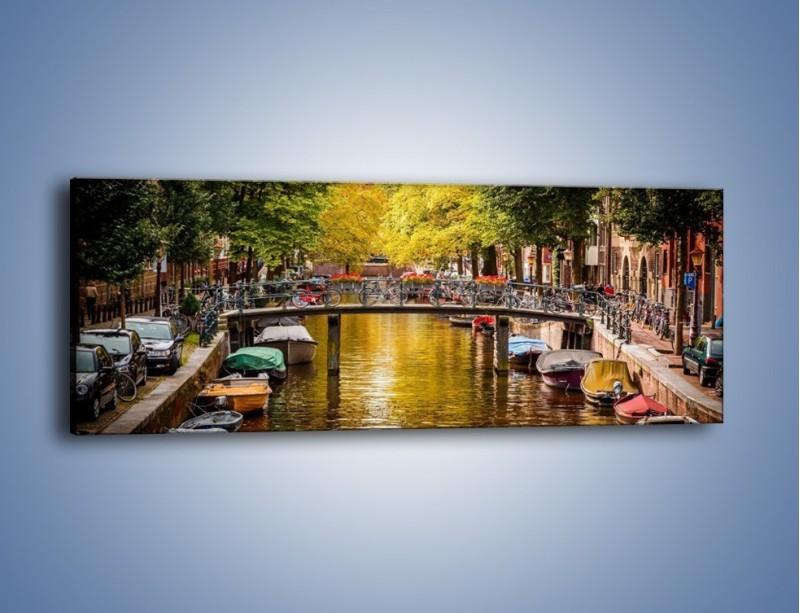 Obraz na płótnie – Most nad amsterdamskim kanałem – jednoczęściowy panoramiczny AM552