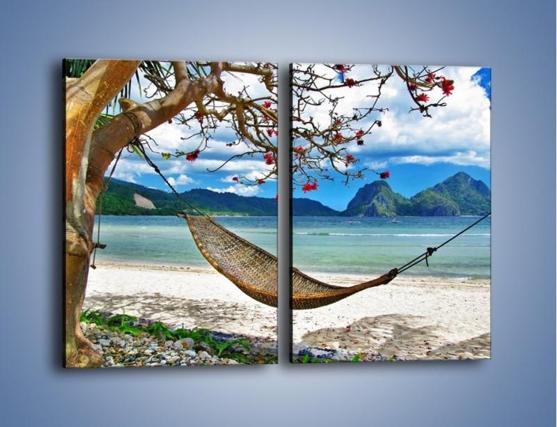 Obraz na płótnie – A może by odpocząć na hamaku? – dwuczęściowy prostokątny pionowy KN1199A