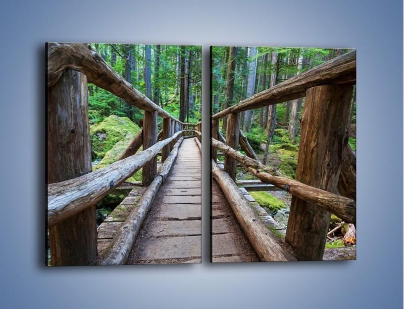 Obraz na płótnie – Mostek z drewnianych bali – dwuczęściowy prostokątny pionowy KN1207A