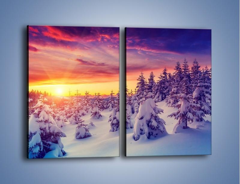 Obraz na płótnie – Choinki w śnieżnej szacie – dwuczęściowy prostokątny pionowy KN1220A