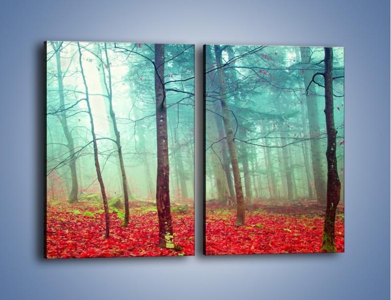Obraz na płótnie – Drzewka na czerwonym dywanie – dwuczęściowy prostokątny pionowy KN1222A