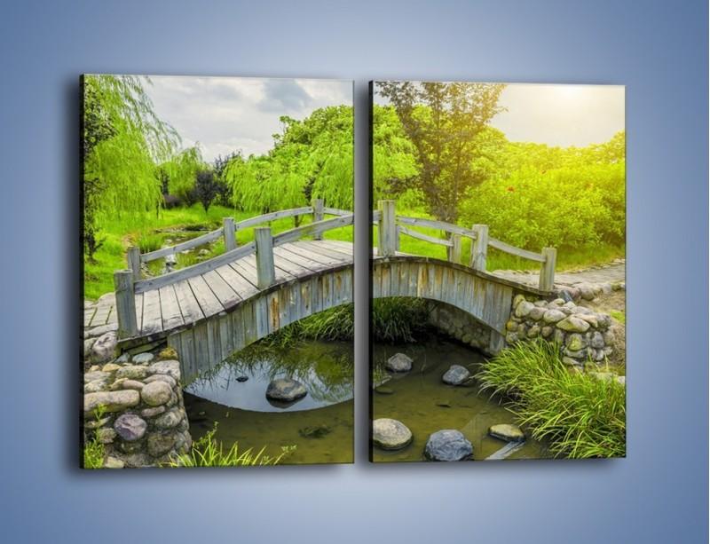 Obraz na płótnie – Mały mostek przez rzeczkę – dwuczęściowy prostokątny pionowy KN1254A