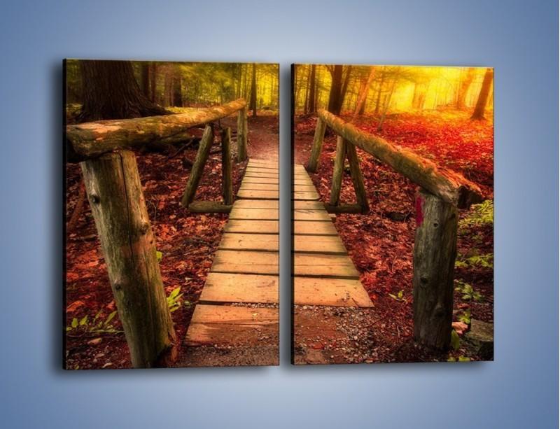 Obraz na płótnie – Krótkie przejście przez las – dwuczęściowy prostokątny pionowy KN1330A
