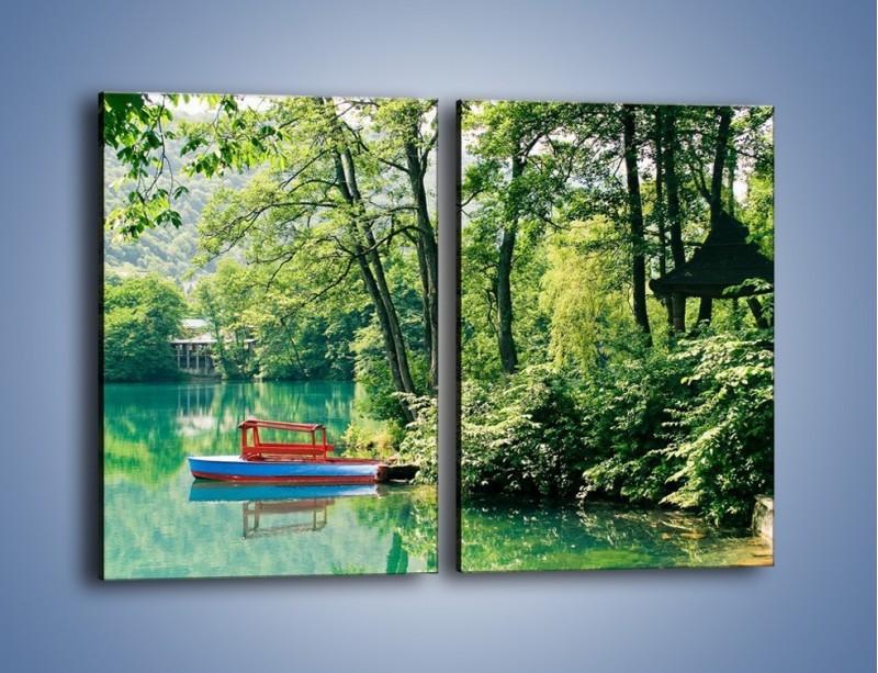 Obraz na płótnie – Wakacje nad jeziorem – dwuczęściowy prostokątny pionowy KN155