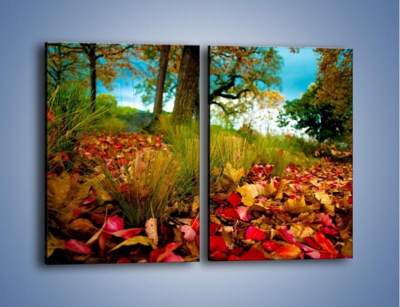 Obraz na płótnie – Droga usłana liśćmi – dwuczęściowy prostokątny pionowy KN172