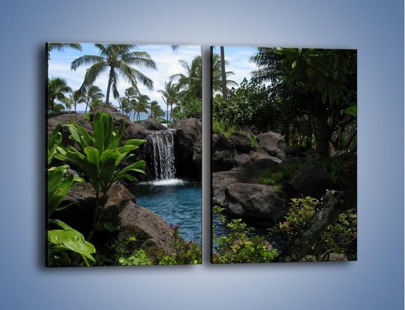 Obraz na płótnie – Wodospad wśród palm – dwuczęściowy prostokątny pionowy KN208