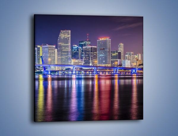 Obraz na płótnie – Światla Miami w odbiciu wód Biscayne Bay – jednoczęściowy kwadratowy AM813