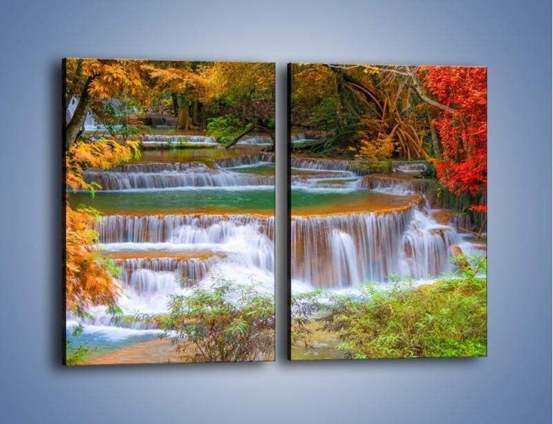 Obraz na płótnie – Schodki z wodospadów – dwuczęściowy prostokątny pionowy KN287