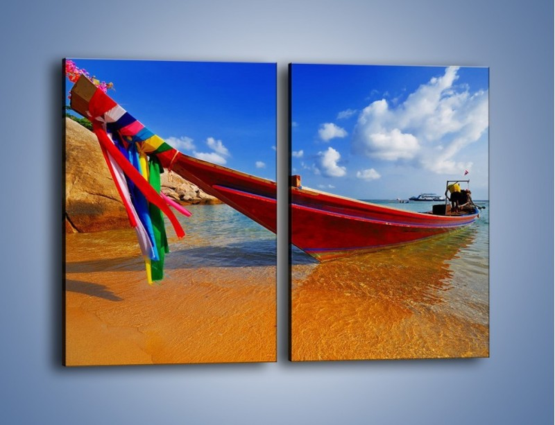 Obraz na płótnie – Kolorowa łódź na brzegu – dwuczęściowy prostokątny pionowy KN415