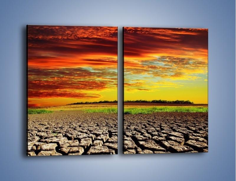 Obraz na płótnie – Spękane chmury i ziemia – dwuczęściowy prostokątny pionowy KN602