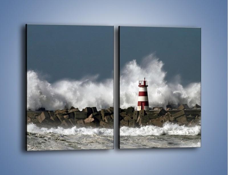 Obraz na płótnie – Latarnia morska w sztormie – dwuczęściowy prostokątny pionowy KN626