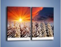 Obraz na płótnie – Choinki w środku zimy – dwuczęściowy prostokątny pionowy KN682