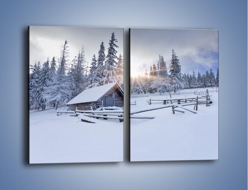 Obraz na płótnie – Chatka zatopiona w śniegu – dwuczęściowy prostokątny pionowy KN696