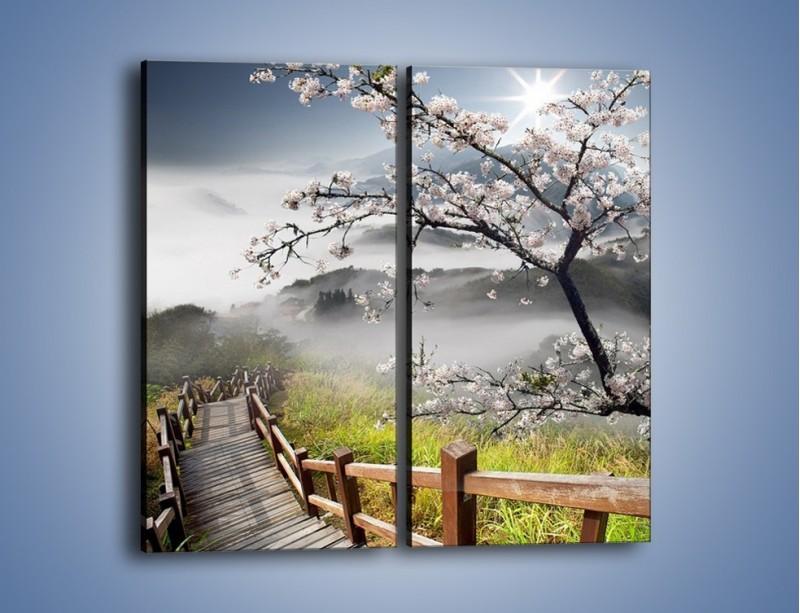 Obraz na płótnie – Drzewo wiśni i kręte schody – dwuczęściowy prostokątny pionowy KN698