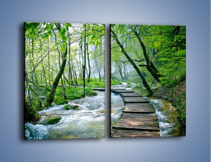 Obraz na płótnie – Drewniana kładką przez potok – dwuczęściowy prostokątny pionowy KN720