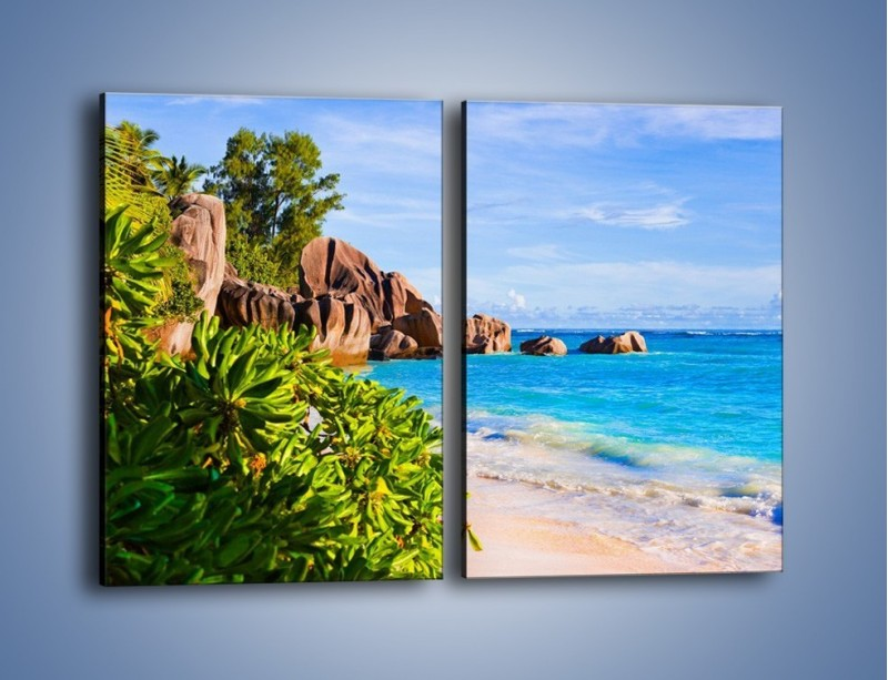 Obraz na płótnie – Brzeg morza jak z bajki – dwuczęściowy prostokątny pionowy KN755