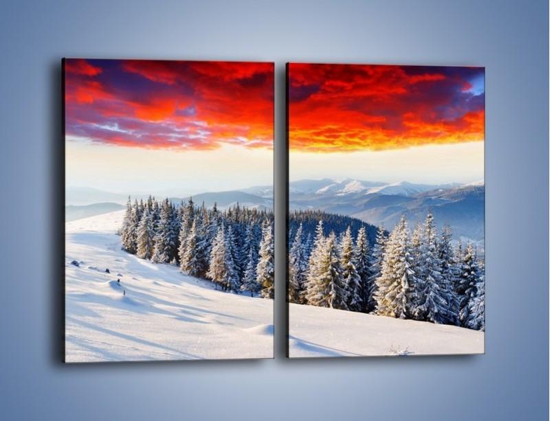 Obraz na płótnie – Cały urok gór zimą – dwuczęściowy prostokątny pionowy KN805