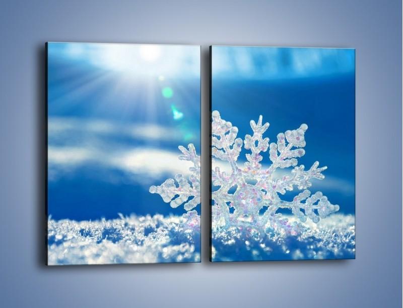Obraz na płótnie – Diamentowa śnieżynka – dwuczęściowy prostokątny pionowy KN808