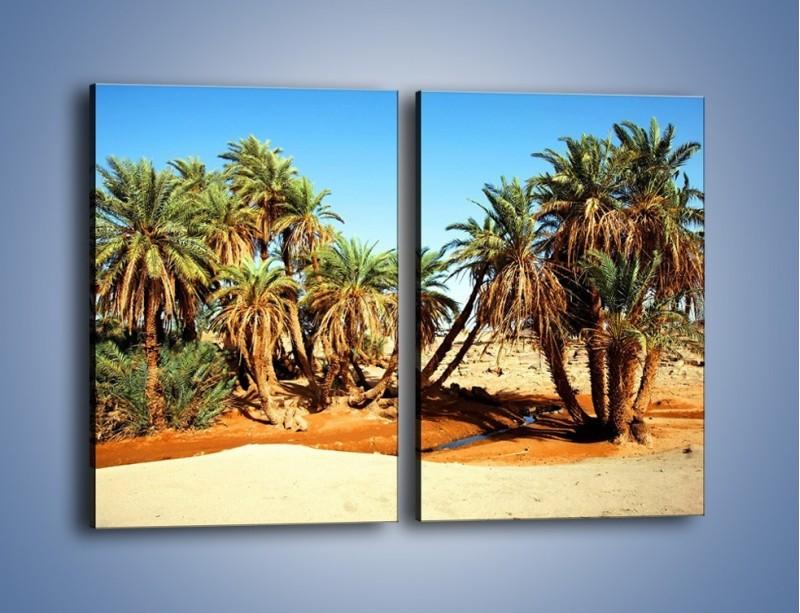 Obraz na płótnie – Palmowa rodzina w komplecie – dwuczęściowy prostokątny pionowy KN809