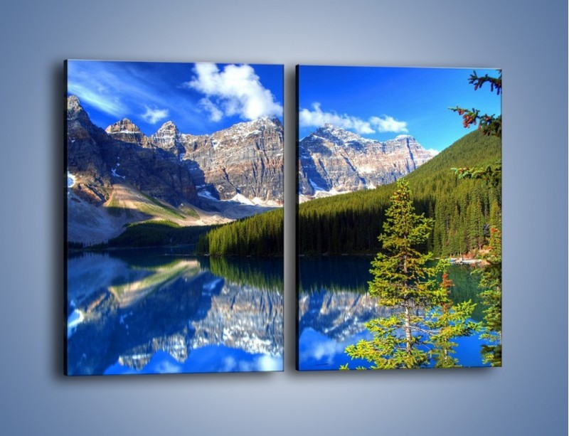 Obraz na płótnie – Góry i ich wodne odbicie – dwuczęściowy prostokątny pionowy KN839