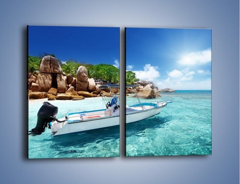 Obraz na płótnie – Błękit w wodzie i niebie – dwuczęściowy prostokątny pionowy KN852