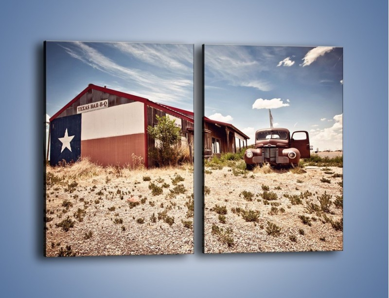 Obraz na płótnie – Autem przez texas – dwuczęściowy prostokątny pionowy KN874