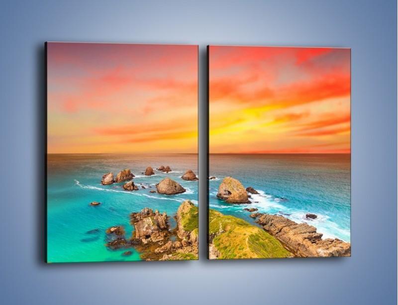 Obraz na płótnie – Kolory rozpalonego nieba nad wodą – dwuczęściowy prostokątny pionowy KN879