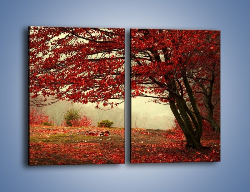 Obraz na płótnie – Spadające liście z drzew – dwuczęściowy prostokątny pionowy KN910
