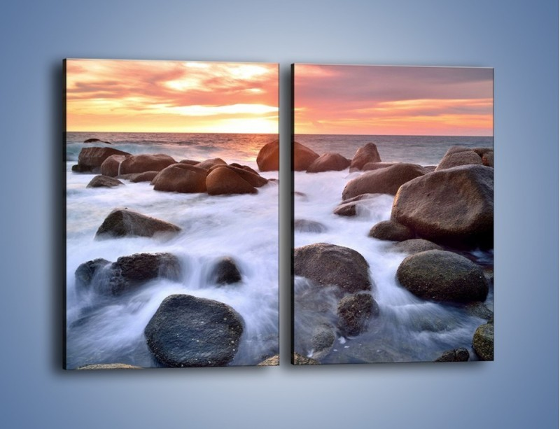 Obraz na płótnie – Kamienie zatopione w morzu – dwuczęściowy prostokątny pionowy KN930