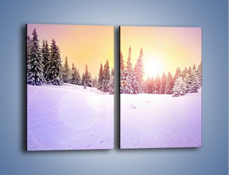 Obraz na płótnie – Choinki zatopione w śniegu – dwuczęściowy prostokątny pionowy KN940